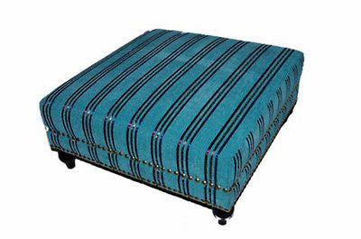 Moroccan Handwoven Kilim Wool Square Ottoman Chair Pouf Turquoise & Silk Stripes