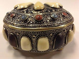 Moroccan Vintage Jewelry Boxes in Polished Camel Bone and Metal Trinket