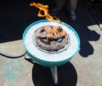 campfire in a can, homemade customer campfire project, weber barbecue, patio design,