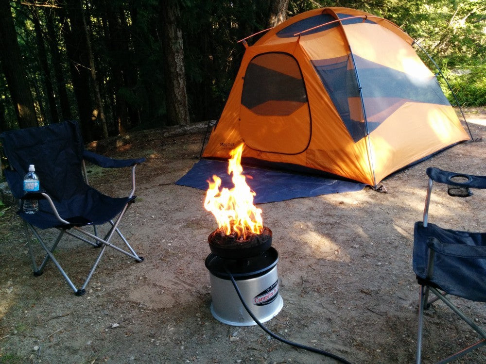 campfire in a can, campfire, tent, camping, shuswap, british columbia, bc