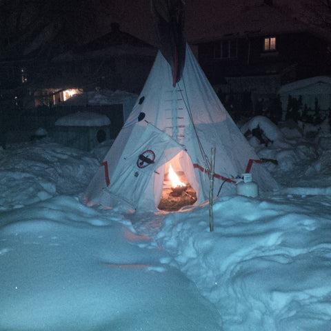 campfire in a can inside teepee