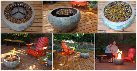 campfire in a can, campfire in a can on wood porch, fire with glass, patio design, campfire, portable propane campfire