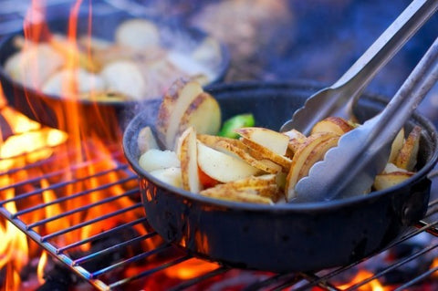 campfire cooking. fire roasted potatoes, skillet cooking, camp cooking, campfire recipes, camping recipes, camping food