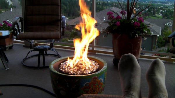 fire pit flower pot backyard