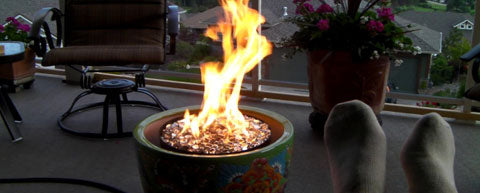 backyard ideas fire pit flower pot