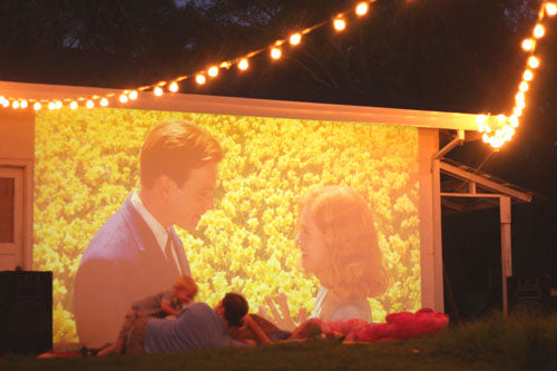 outdoor movie screen, backyard movie screen, DIY movie screen