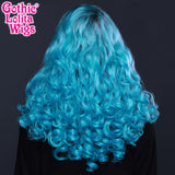 Lace Front Curly Dark Roots - Aqua Mix -00703