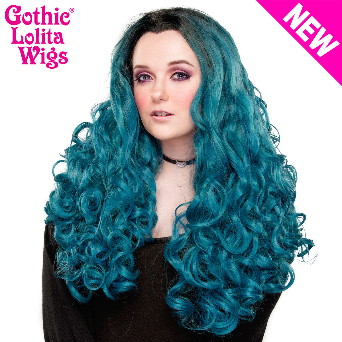 Lace Front Curly Dark Roots - Turquoise Mix -00704