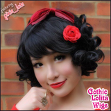 Black Short Curly Bob - Wigs for White Ladies - Snow White Cosplay - Gothic Lolita