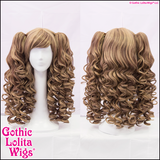 Brown blend natural thick wigs mix babydoll Gothic Lolita choco-latte