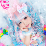 Babydoll dolly cotton candy gothic lolita wigs pink blue blend mix clip-on ponytails