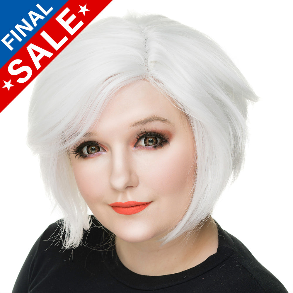 **RETIRED** Lace Front Boy Cut- White -00809