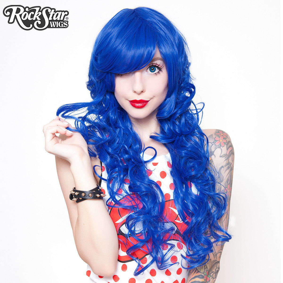 "Cosplay Wigs USA™ <br> Curly 70cm/28"" - Royal Blue -00310"