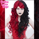 Long Curly Black Red Split Gothic Lolita Wigs