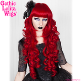 Deep Crimson Cherry Red Long Curly Gothic Lolita Wigs Straight Bangs Fringe