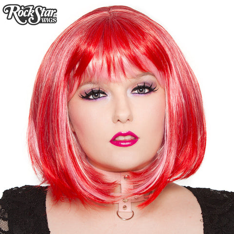 RockStar Wigs® Candy Girl Bob - Red Pink Blend - 00693