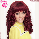 Burgundy red Victorian era Ringlet Redux dolly doll-like hair womens ladies courtesan cosplay Gothic Lolita Wigs tight curly curls spiral hairstyles