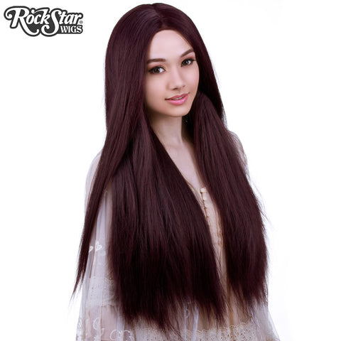 "Lace Front Yaki Straight 32"" - Black Mahogany Burgundy Mix-00590"
