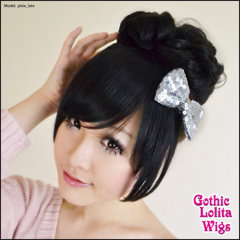 Gothic Lolita Wigs® <br> Pixie™ Collection - Bun 2 (Black) -00078