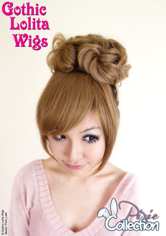 Gothic Lolita Wigs® <br> Pixie™ Collection - Bun 2 (Milk Tea) -00082