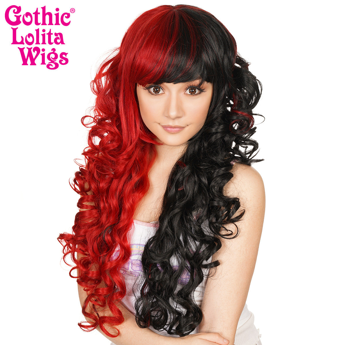 Gothic Lolita Wigs® <br> Duchess Elodie™ Collection - Black & Crimson Red Split -00049