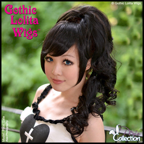 Gothic Lolita Wigs® <br> Pixie™ Collection - Ponytail 1 (Black) -00083