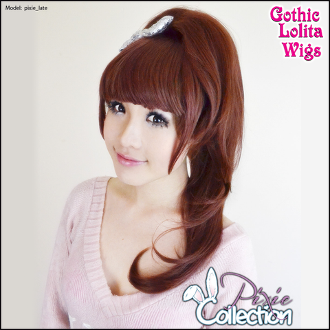 Gothic Lolita Wigs® <br> Pixie™ Collection - Ponytail 2 (Burgundy & Brown Mix) -00090