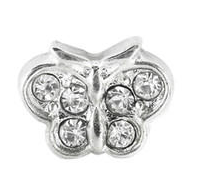Silver Butterfly With Crystal Charm