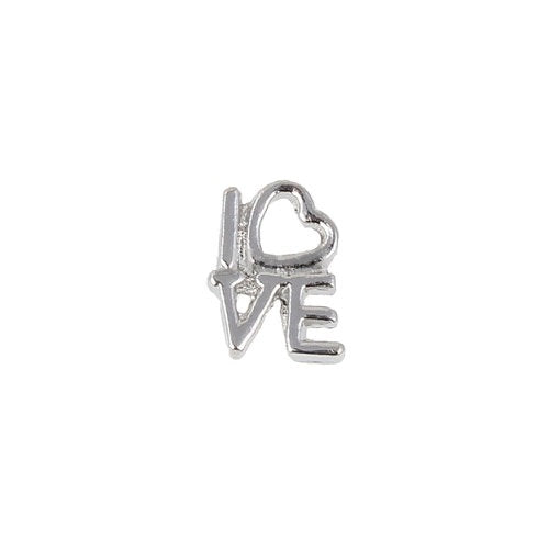 Silver Love With Heart Charm