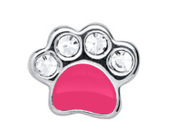 Pink Paw With Crystal Charm