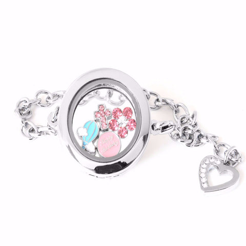 Silver Circle Floating Locket Bracelet with Dangling Heart and Choice of 4 Mini Charm