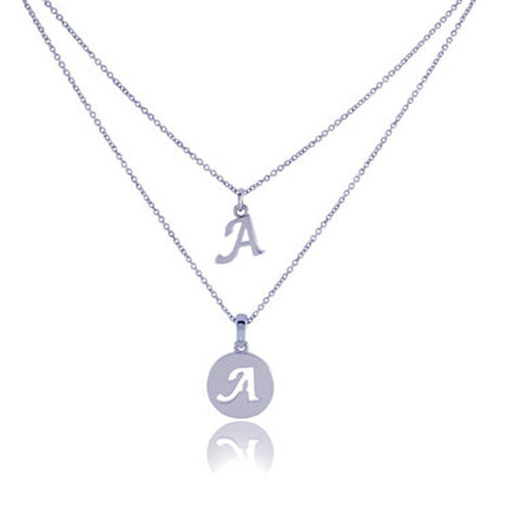 Dainty Double Initial Necklace with Adjustable Chain and Extender by BG247®