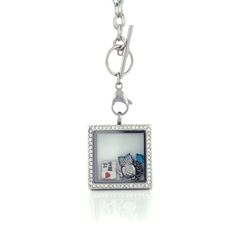 Floating Locket Necklace with Choice of 6 Charms and Matching Chain