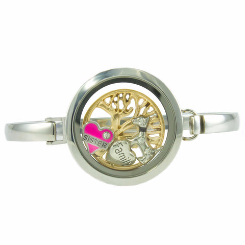 Floating Locket Bangle Bracelet with Choice of 6 Charms and 1 Plate (Silver No Stone)