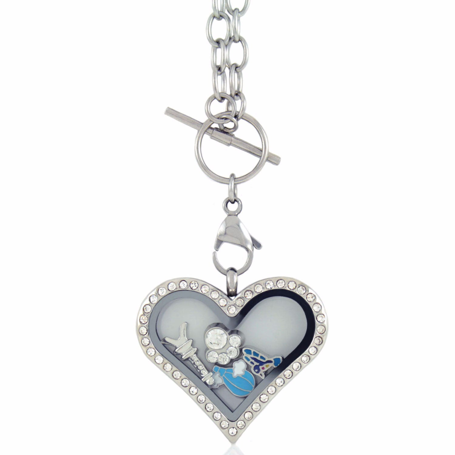 Floating Locket Necklace with 6 Charms and Matching Toggle Chain (Rhinestone Heart Large)