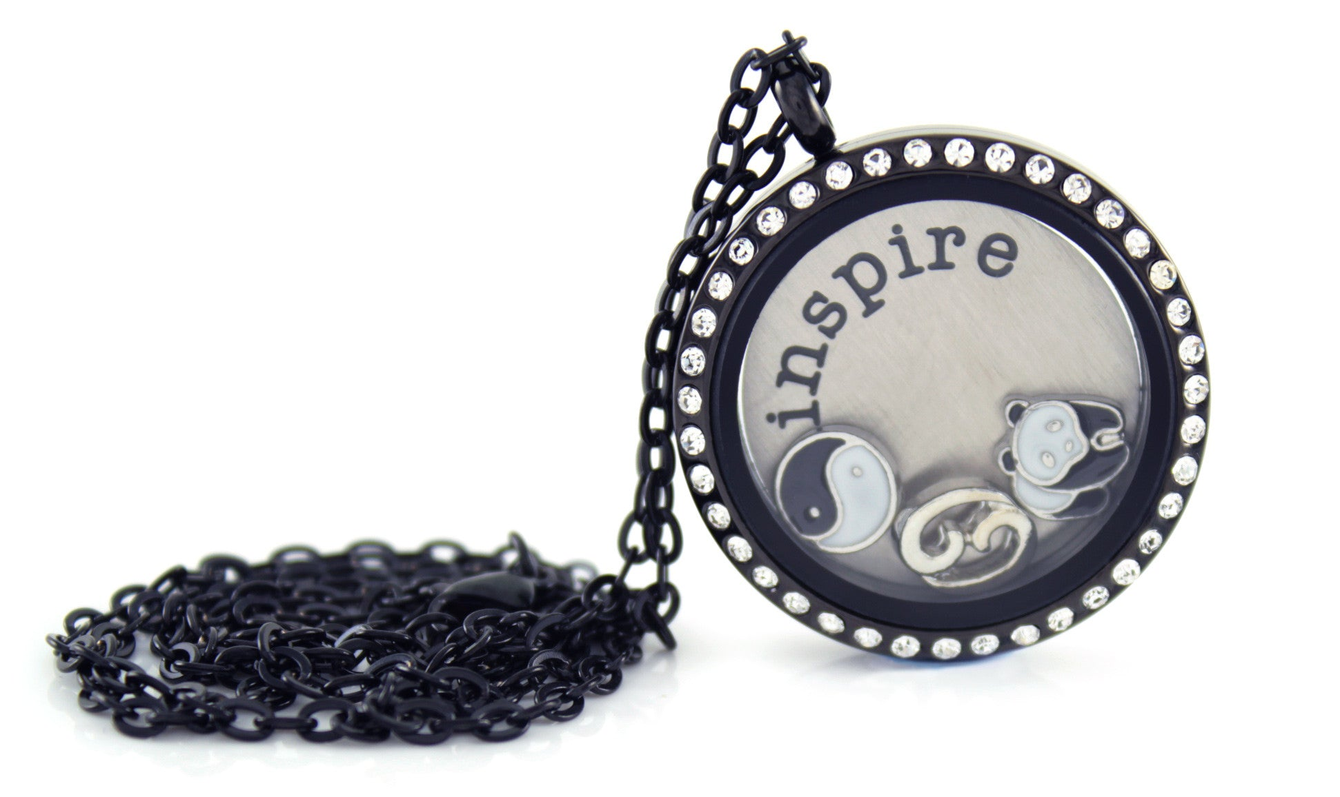 Stainless Steel Floating Locket Necklace with Choice of 6 Charms and 1 Plate (Gunmetal Rhinestone)