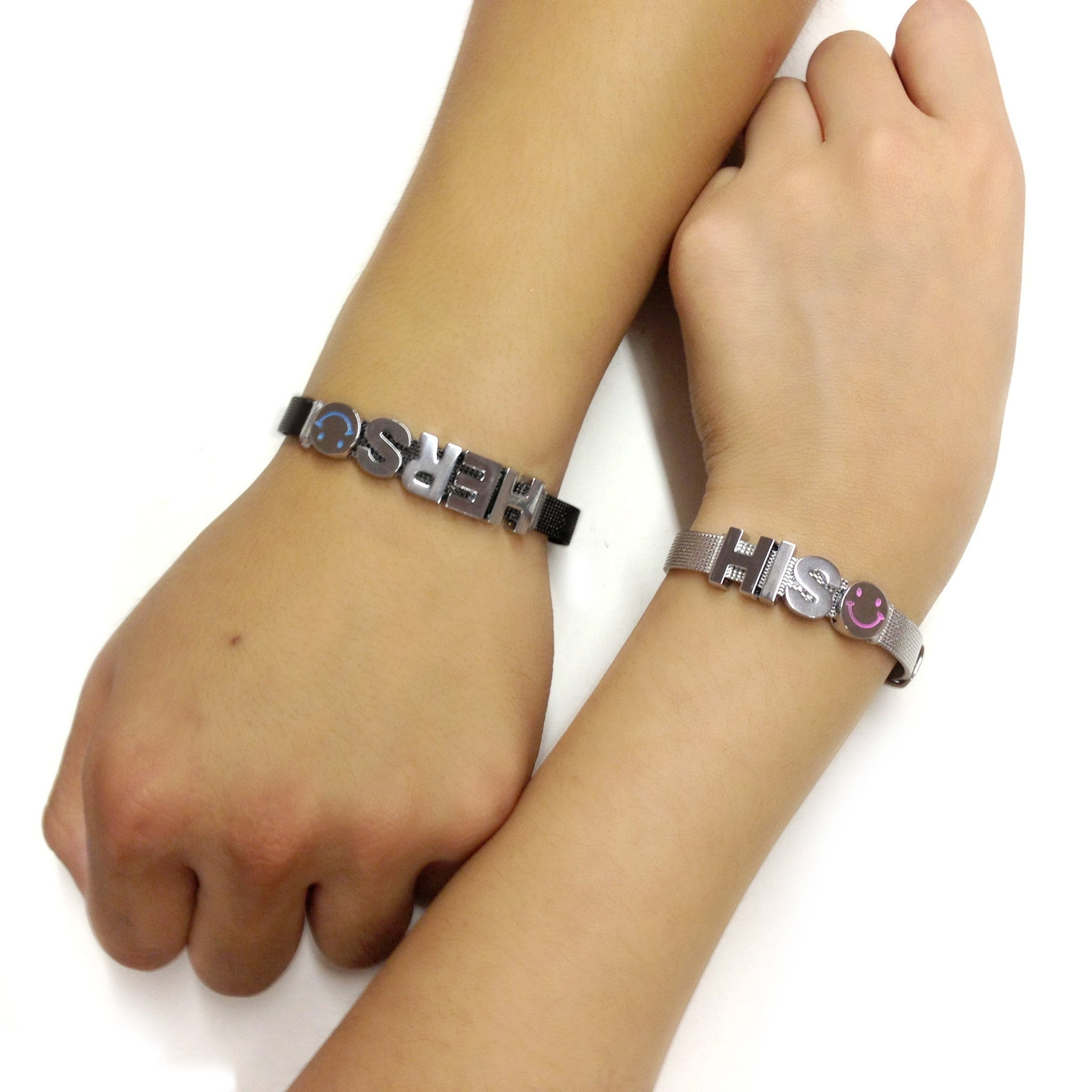 His & Hers Couple Bracelet Set (Stainless Steel & Gunmetal)