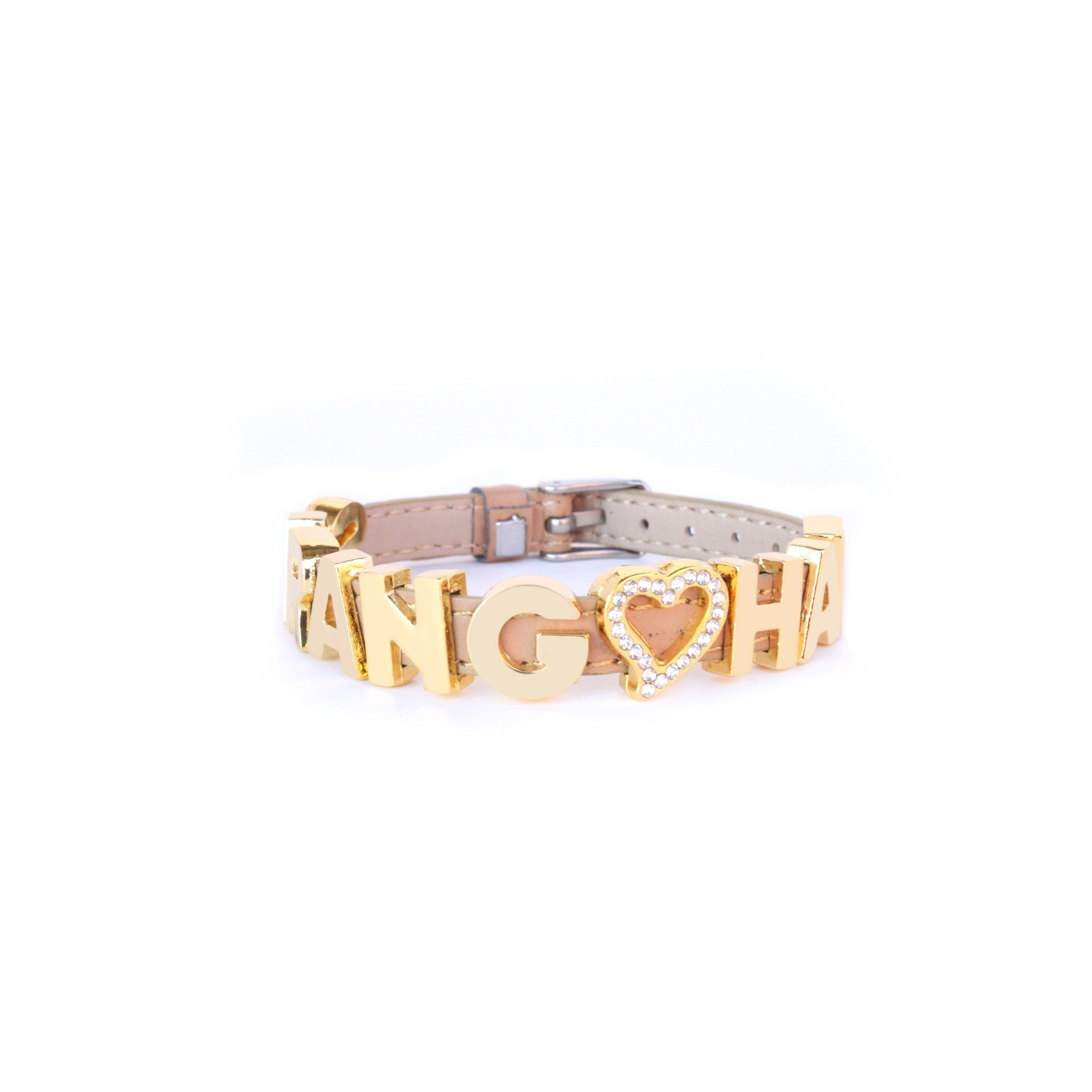 Slider Faux Leather Bracelet in Gold Letters (Love Across the World)