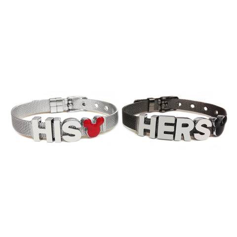 Mickey and Minnie Inspired His & Hers Couple Bracelet Set (Stainless Steel & Gunmetal)