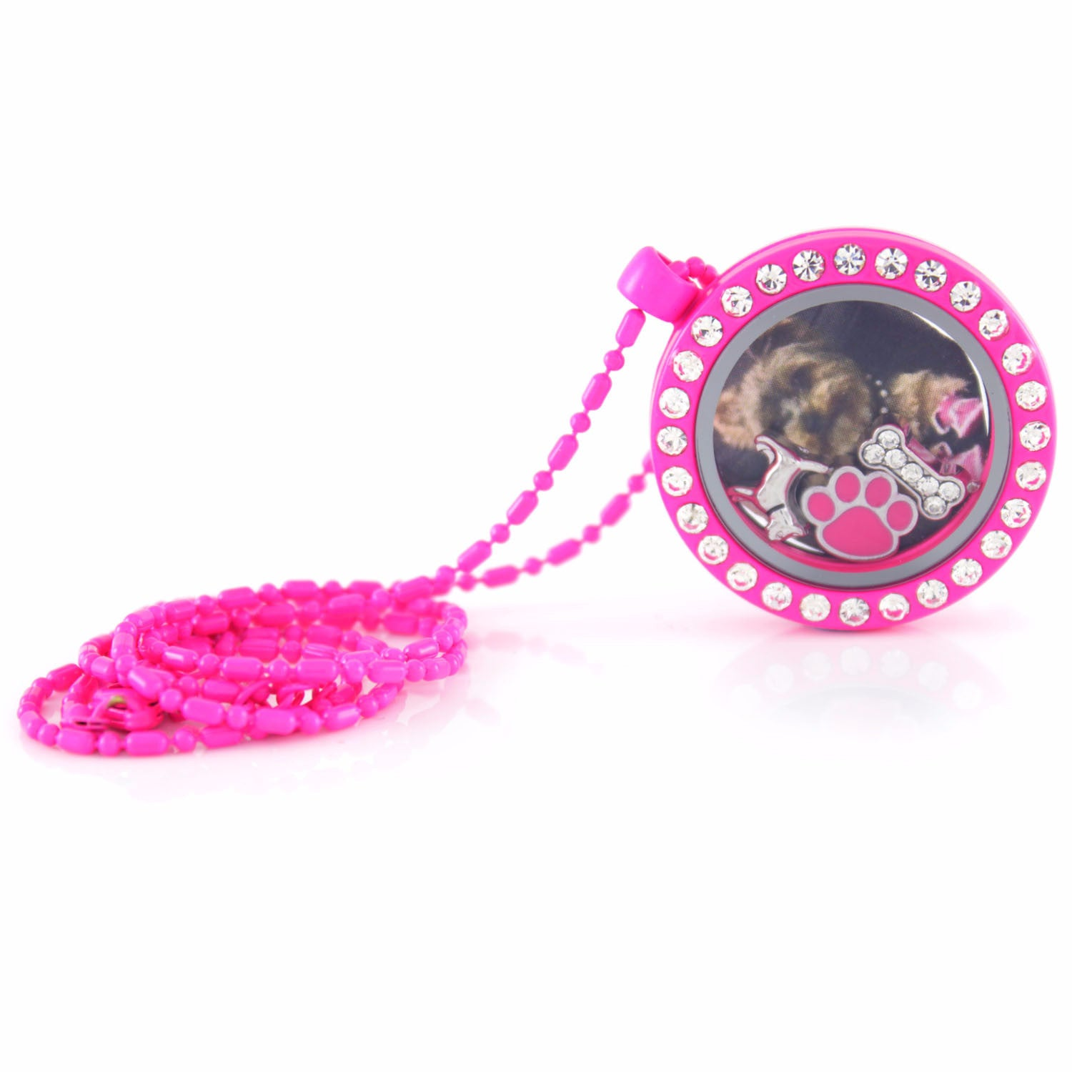 Floating Locket Necklace with Choice of 6 Charms and Matching Chain (Neon Hot Pink Circle)