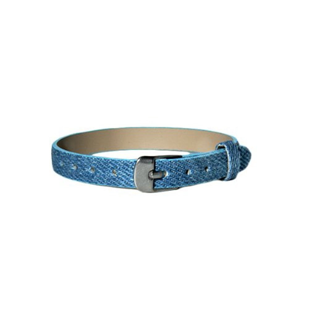 Personalized Denim Bracelet with 8 Silver Rhinestone Letters