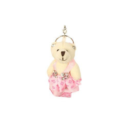 Plush Teddy Bear with Pink Patterned Dress Phone Charm