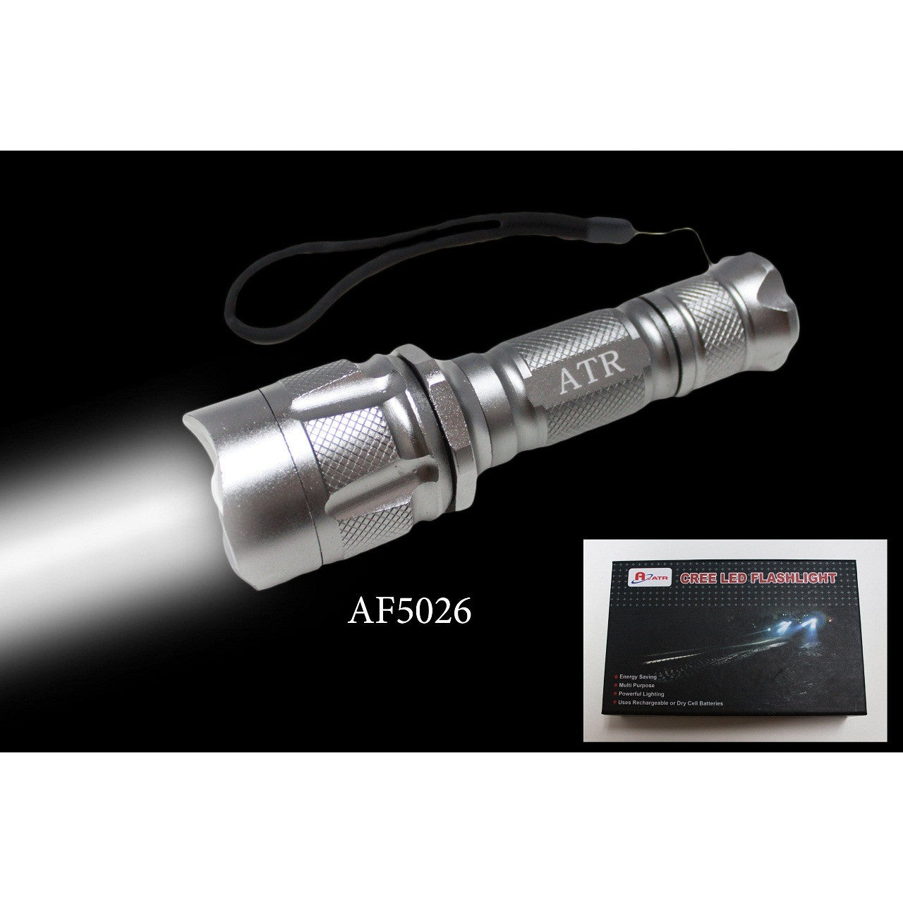 "Rechargeable Power Style LED Focalize Q5 Cree LED 250 Lumen Flashlight 6"" Long - AF5026"