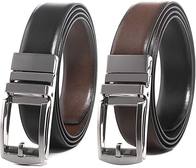 Genuine Leather One Size Fits All Reversible Belt For Casual or Formal (No Holes)