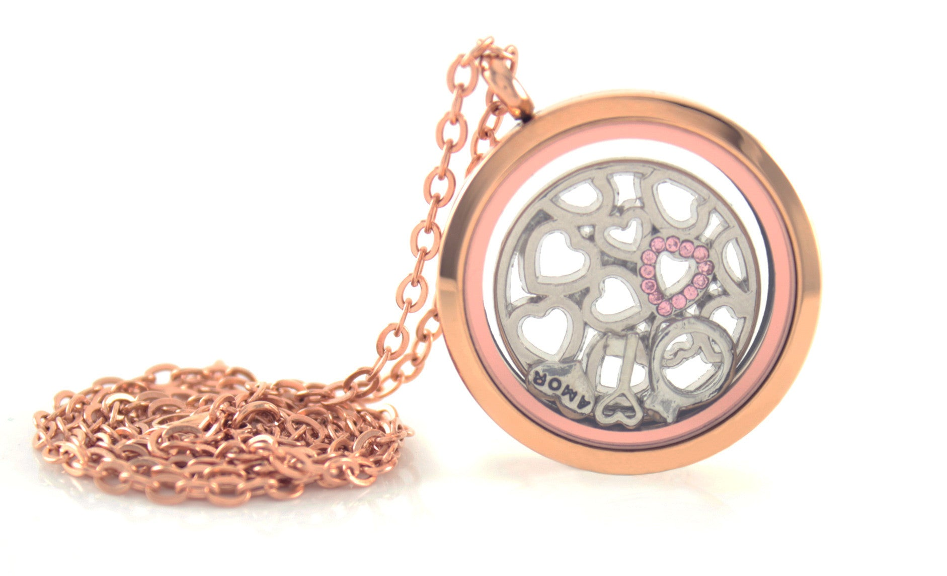 Stainless Steel Floating Locket Necklace with Choice of 6 Charms and 1 Plate (Rose Gold No Stone)
