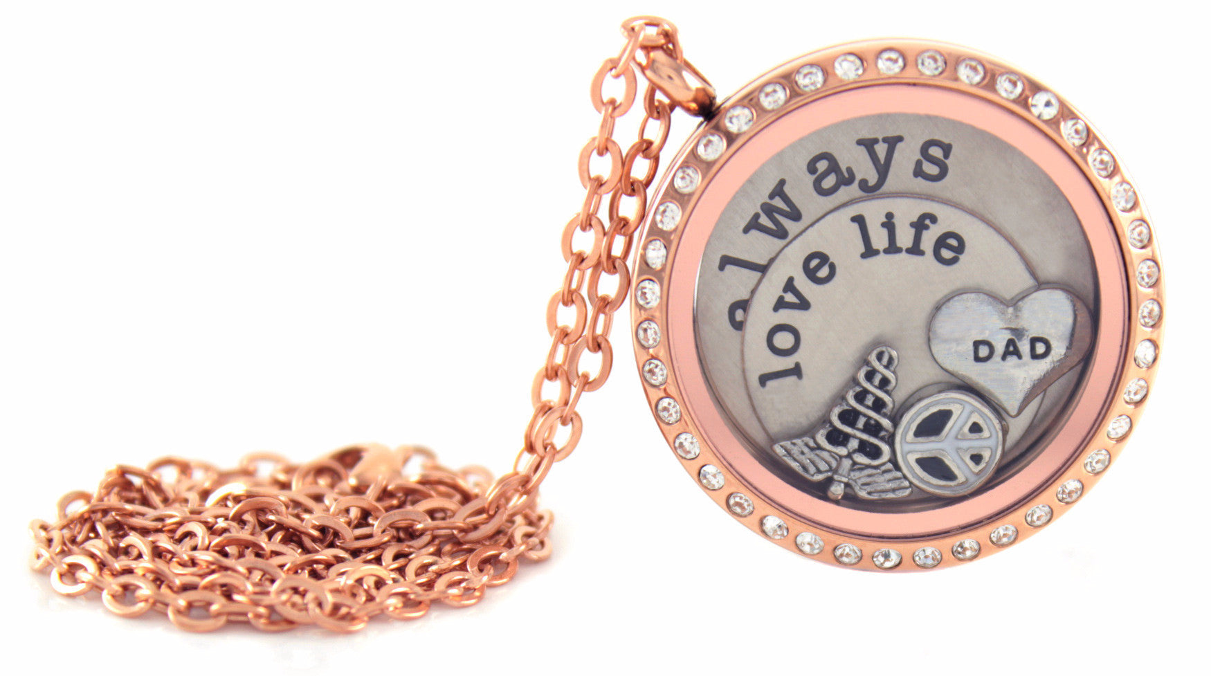 Stainless Steel Floating Locket Necklace with 6 Charms and 1 Plate (Rose Gold Rhinestone Circle)
