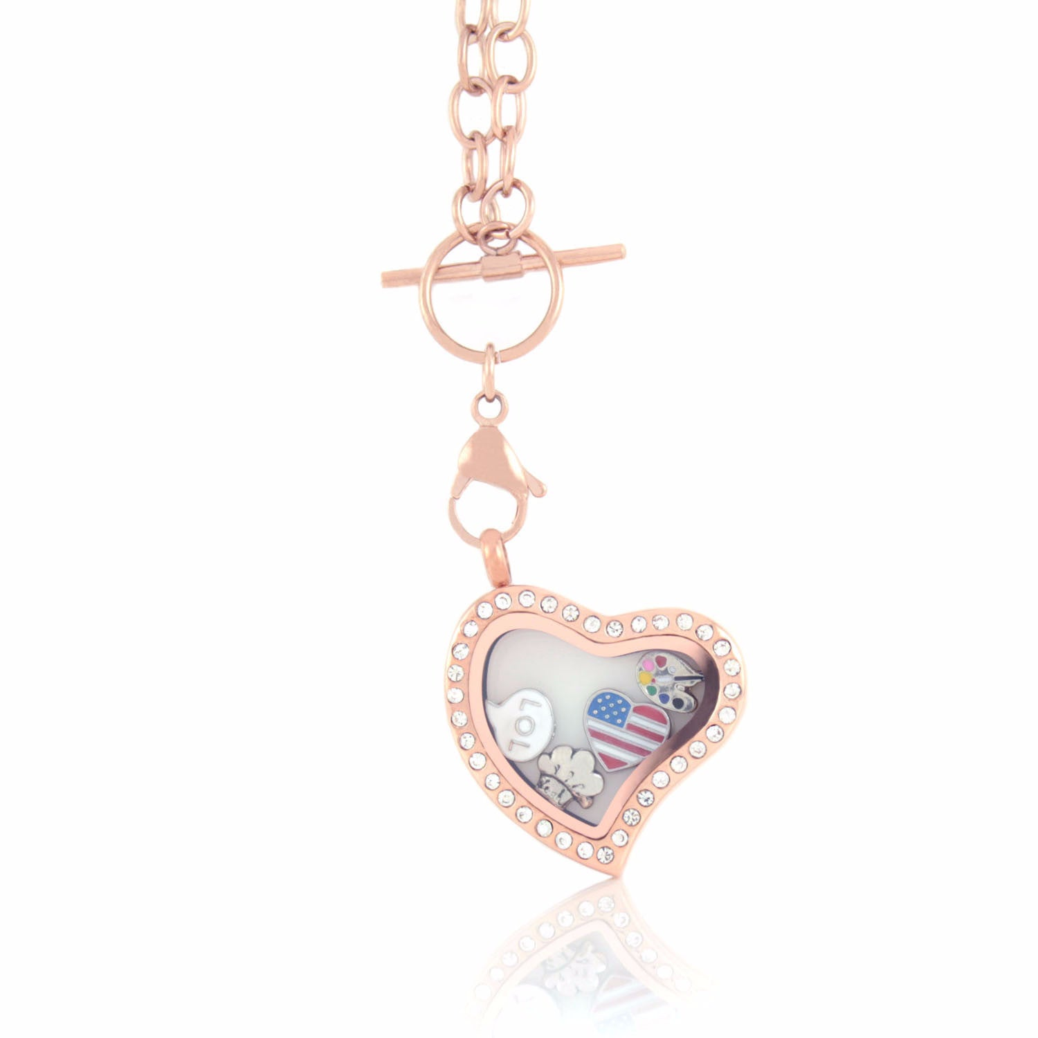 Floating Heart Locket with Choice of 6 Charms and Matching Toggle Chain (Rose Gold Toggle Heart)