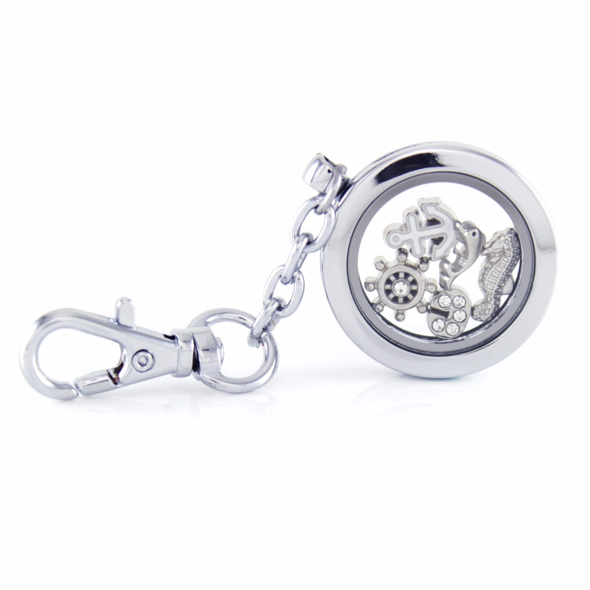 Silver Floating Locket Key Chain with Lobster Claw and Choice of 4 Mini Charms