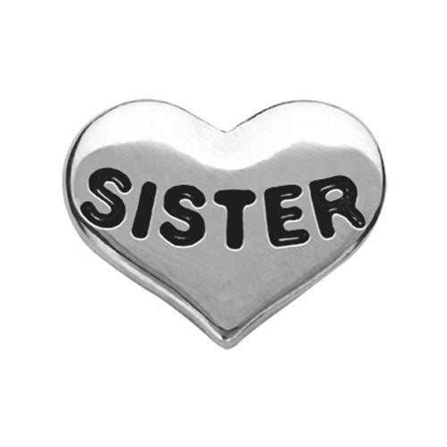 Silver Sister Heart Charm