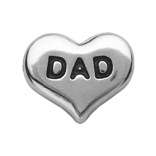 Silver Dad Heart Charm
